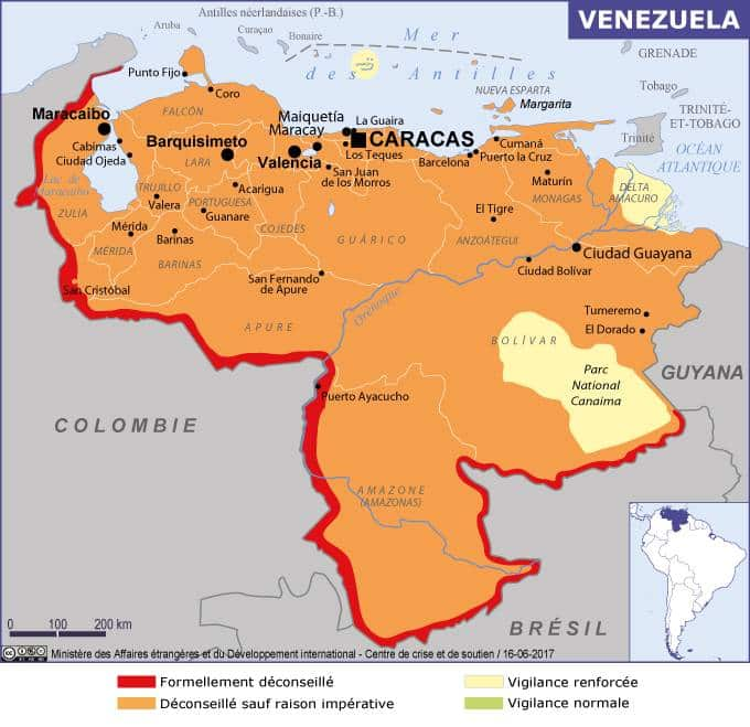 Is it safe to travel in venezuela - map