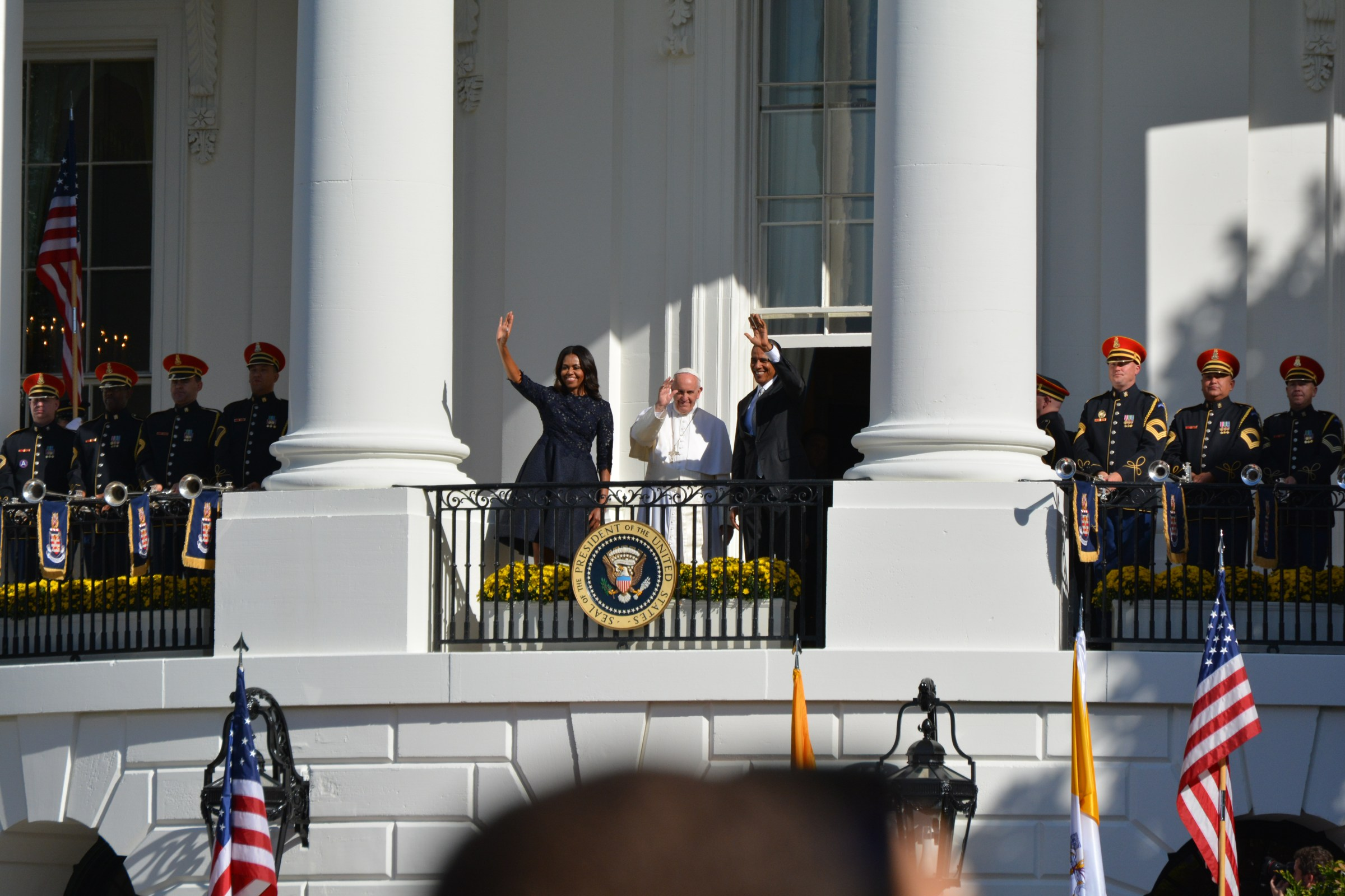 Barack and Michelle Obama with Pope Francis at the White House