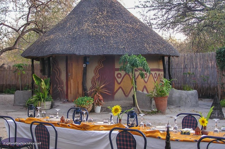 Traditional-style lodging at Betty's bed and breakfast in Maun, Botswana - ExplorationVacation