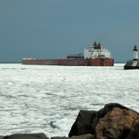 laker passing the Duluth harbor light