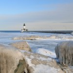 frozen light in Duluth harbor