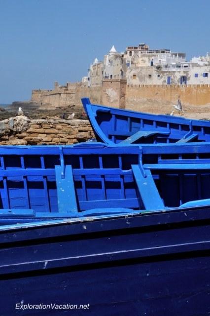 Morocco 2 DSC_8519 blue boats in Essaouira's harbor