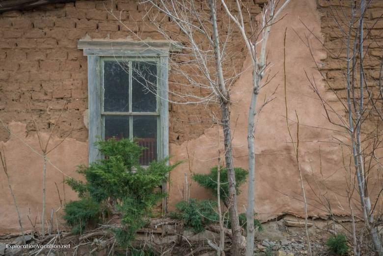 window in a historic shop in Pinos Altos New Mexico