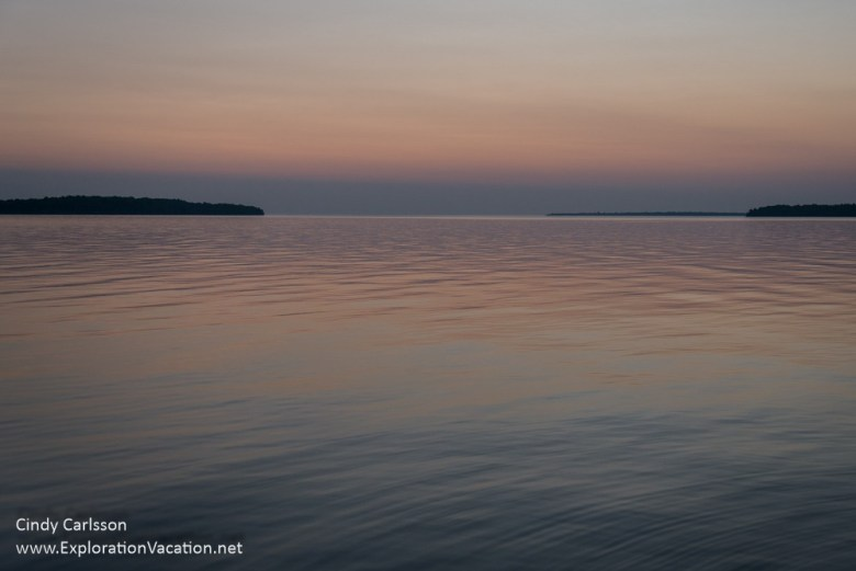 sunrise from the dock on Rocky Island in Wisconsin's Apostle Isl