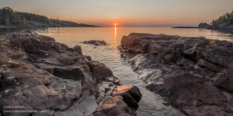 Sunrise at Sugar Loaf Cove along Lake Superior in Minnesota