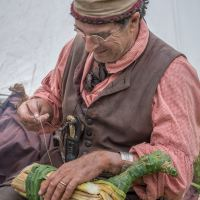 Making duck decoys Voyageurs at Grand Portage Monument Minnesota