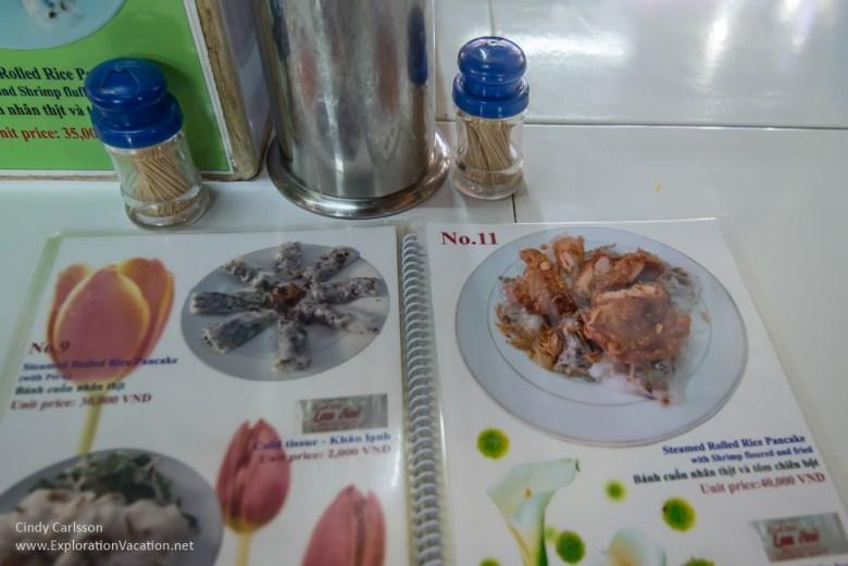 menue in Ben Thanh market