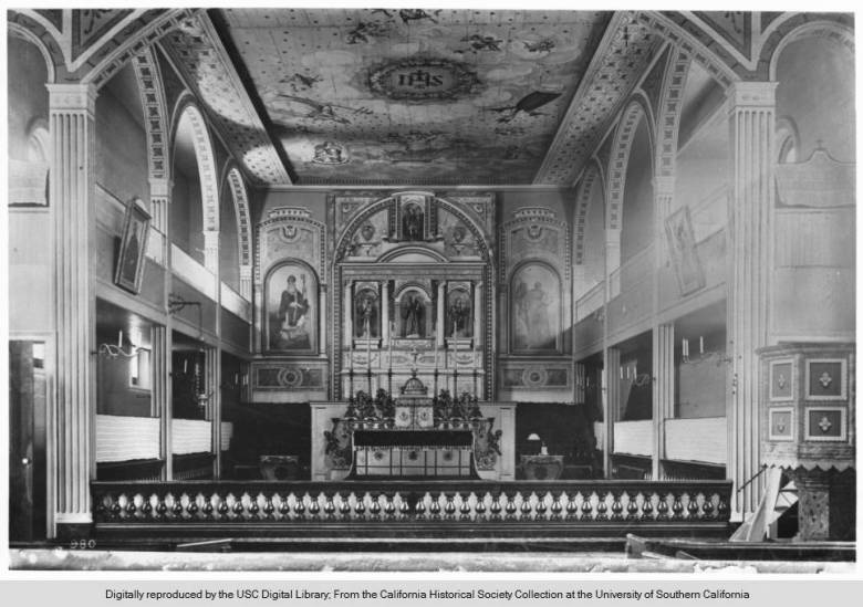 Interior of Mission Santa Clara de Asis, ca.1885-1895