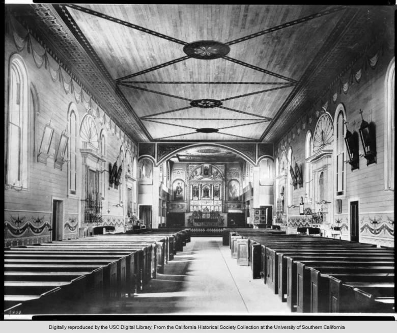 interior view of Mission Santa Clara circa 1890