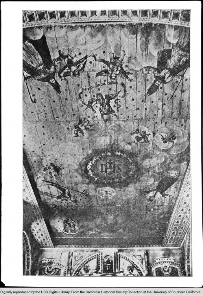 Ceiling of Mission Santa Clara looking towards the altar, ca.1900