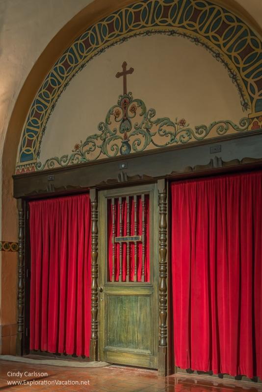 confessional in the church of Mission Santa Clara de Asís