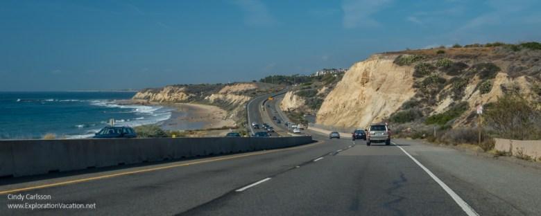 roadway, cliffs, and beach