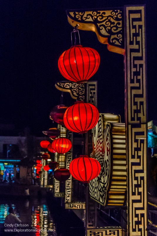 lights along the river in Hoi An Vietnam - ExplorationVacation.net