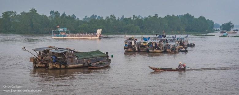 ferry in the Mekong Delta Vietnam - ExplorationVacation.net