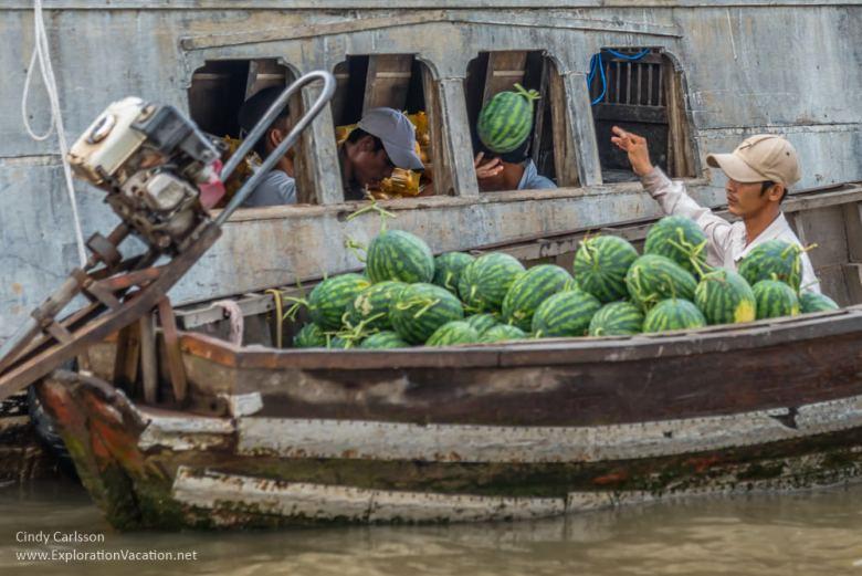watermelon transfer Cai Rang market Mekong Delta Vietnam - ExplorationVacation.net