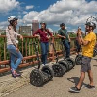 On the Stone Arch Bridge Minneapolis segway tour -ExplorationVacation.net