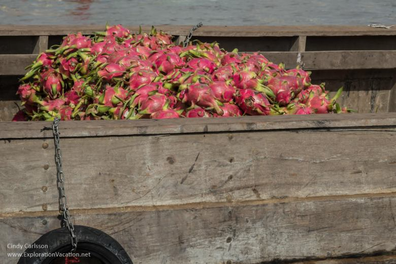 dragonfruit at Cai Rang floating market Vietnam - ExplorationVacation.net