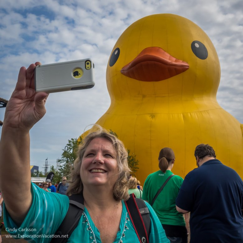Selfies with the giant rubber duck at the Duluth Tall Ship Festival - www.ExplorationVacation.net