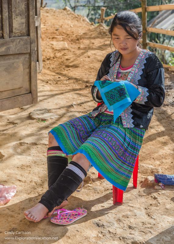 needlework Vietnam road trip Black Hmong village Sapa - ExplorationVacation
