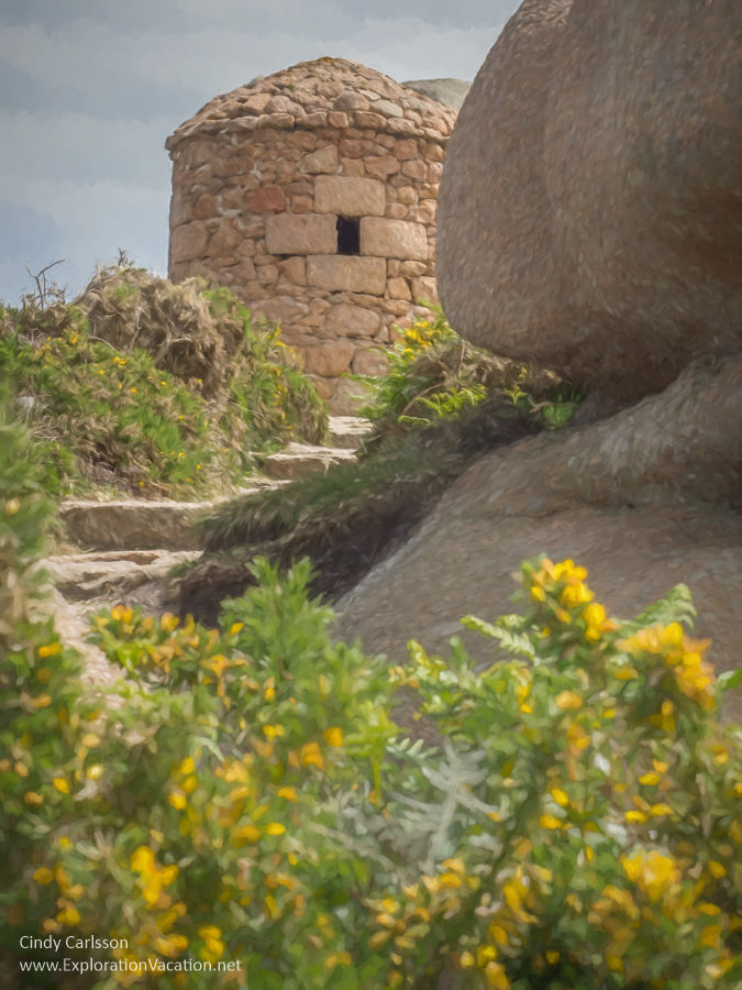 Painting of ruins of a stone tower with stairs and wildflowers