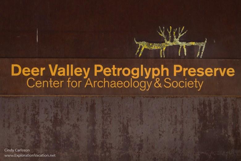 Entry sign Deer Valley Petroglyph Preserve protects ancient rock art in Phoenix Arizona USA - ExplorationVacation.net