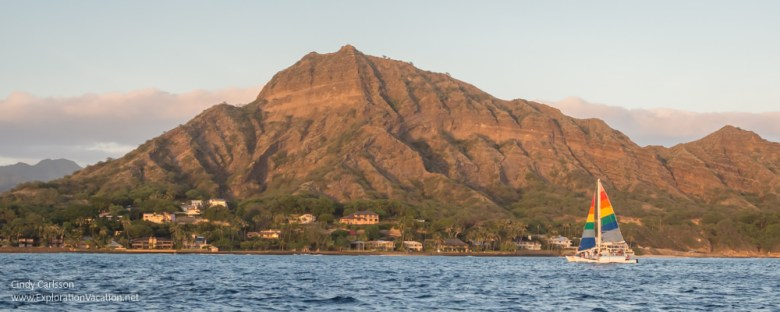 photo by Diamond Head as seen from a Waikiki sunset cruise by ExplorationVacation.net