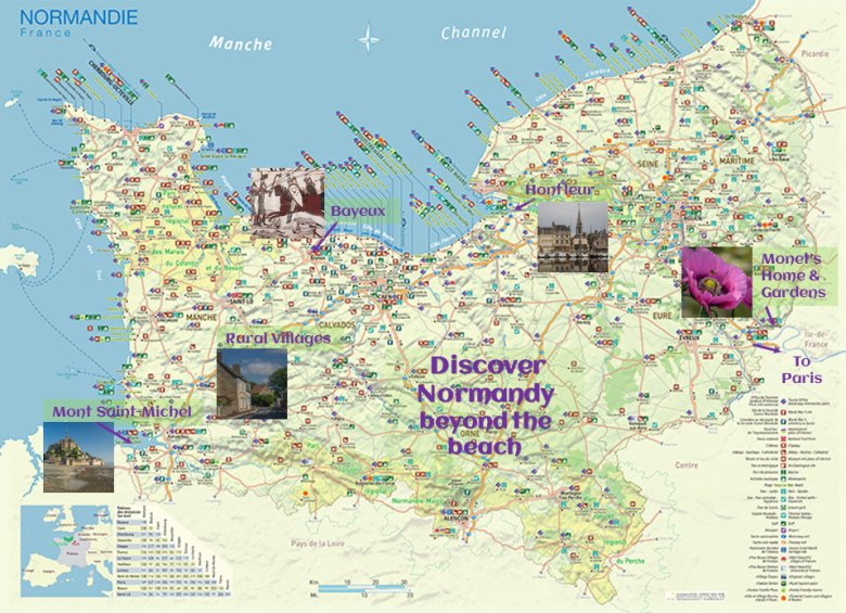 Map of must-see destinations beyond the beach in Normandy - ExplorationVacation.net