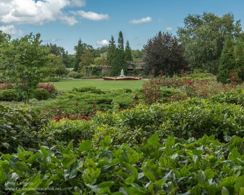 Rose garden and fountain in the Chicago Botanic Garden - ExplorationVacation.net