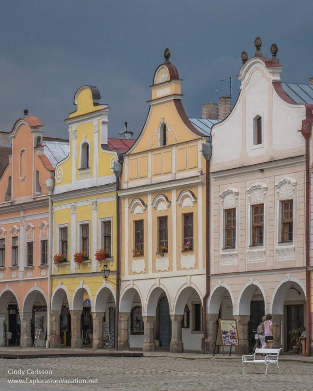 pastel buildings with Italian Renaissance facades