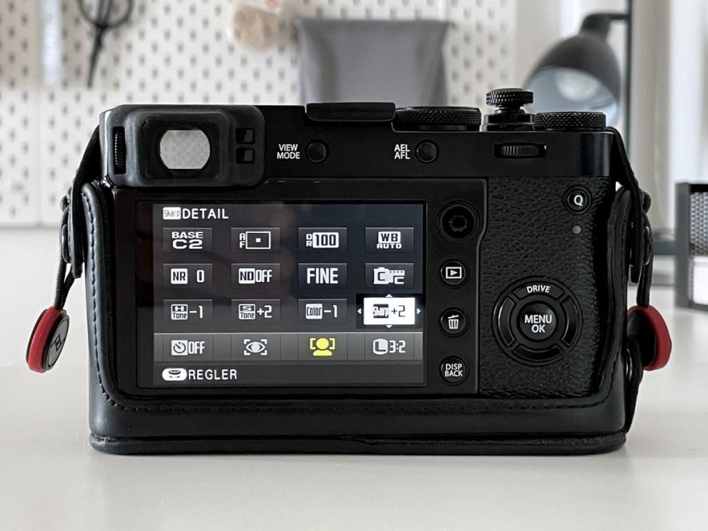 Ecran Fujifilm pour les réglages de développement JPEG