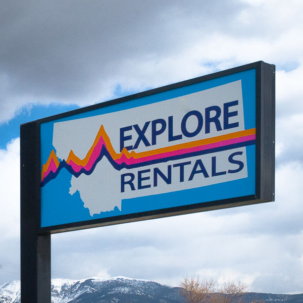 Explore Rentals Bozeman Sign
