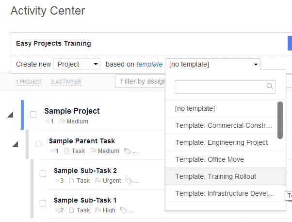 Project Template Selection