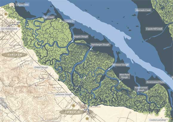 San Mateo and Redwood City Area Historical Baylands Map San Mateo and Redwood City Area Historical Baylands