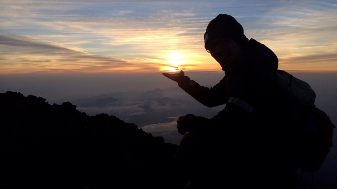 Me at the top of Mount Fuji during sunrise