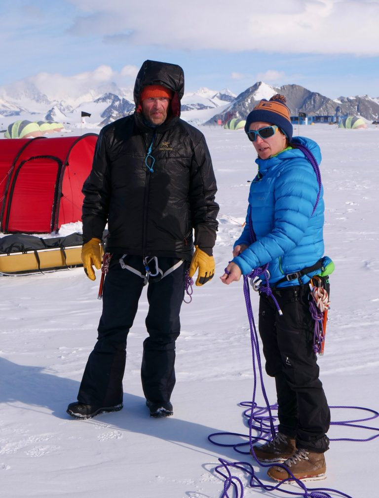 Rob Swan and his Polar Guide Johanna, prepping for their ski to the South Pole.
