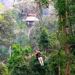 Zip-lining in Laos