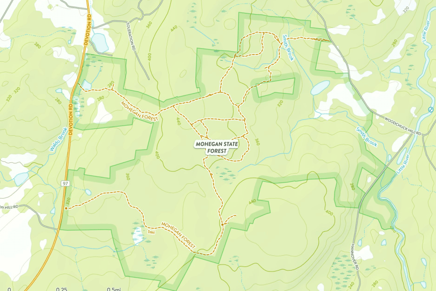Mohegan State Forest Trail Map