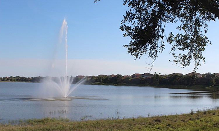 Country Club East fountain in lake