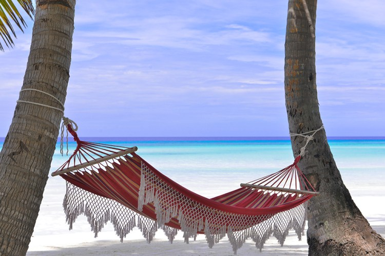 Hammock on Siesta Key Beach in Florida overlooking water