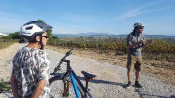 visitando viñedo en ruta del cava en Cataluña España