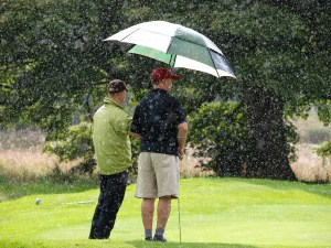 Golfing in wet conditions