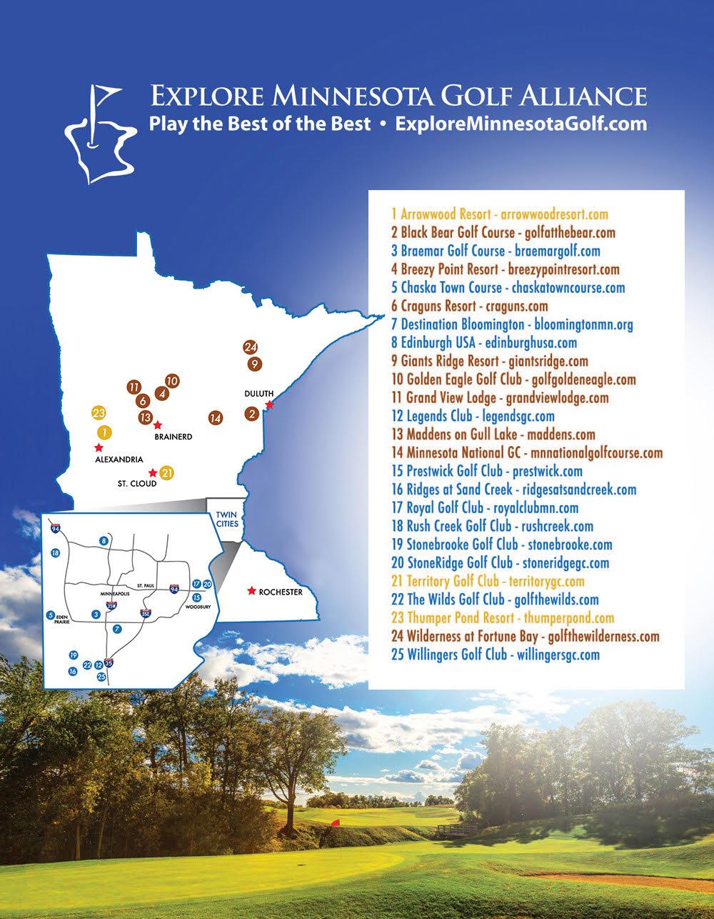 2018 Explore Minnesota Golf Tourism Map