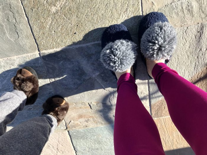 No cold feet here! Cozy slippers keep you toasty from the toes up!