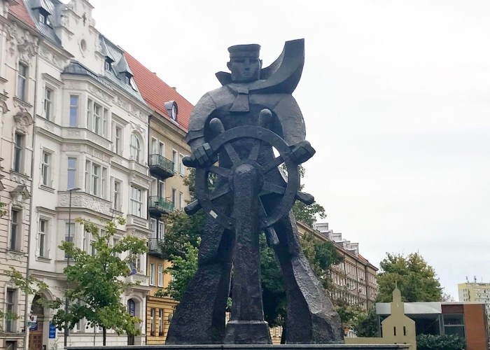 The Szczecin Sailor statue in Szczecin Poland. A Soviet era statue that remains a symbol of the city because the people love him.