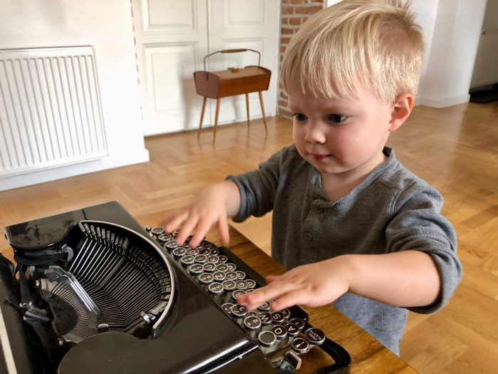 Max and old typewriter