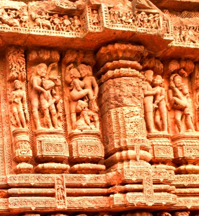 Sexual images at Konark temple, India