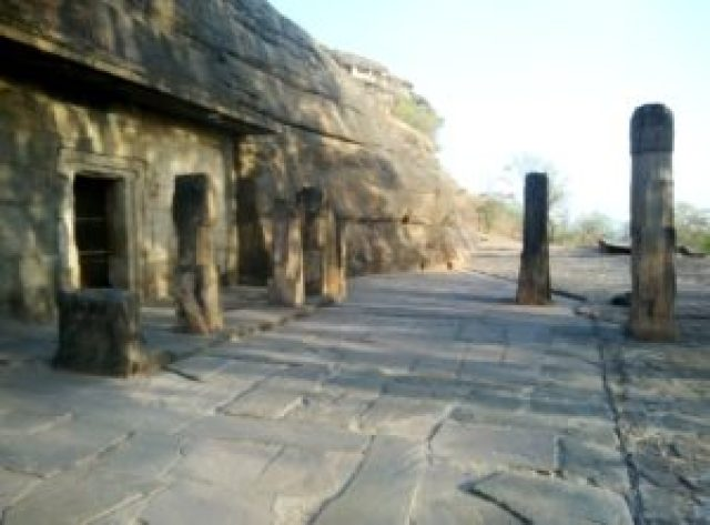 Pillars at cave temples
