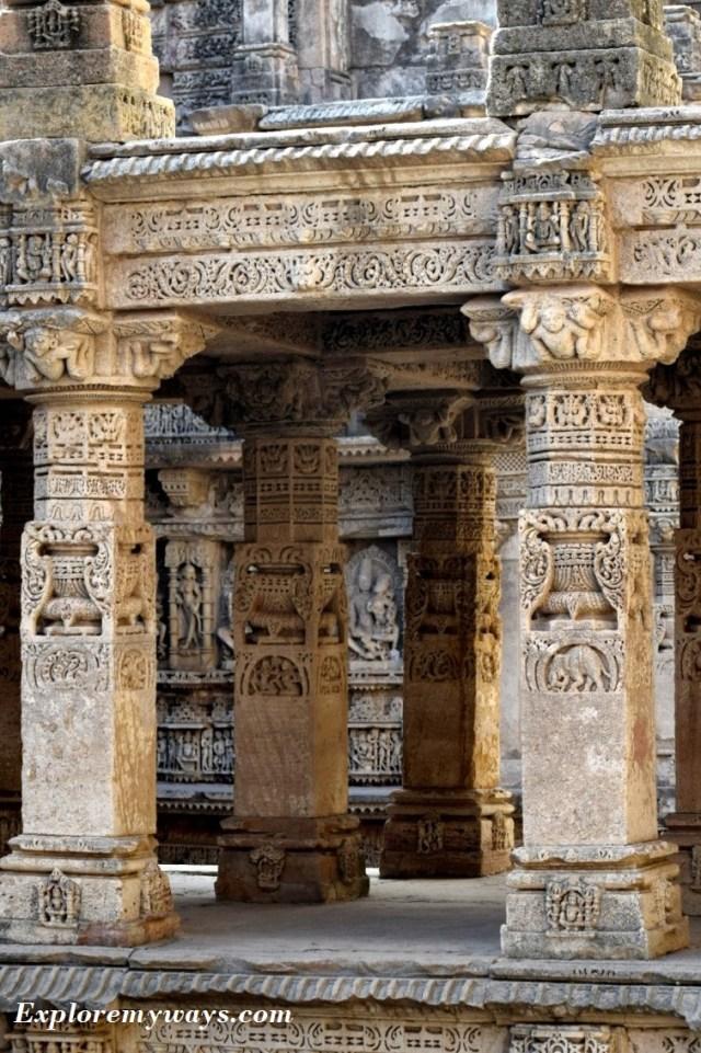 Pillars at Rani ki Vav