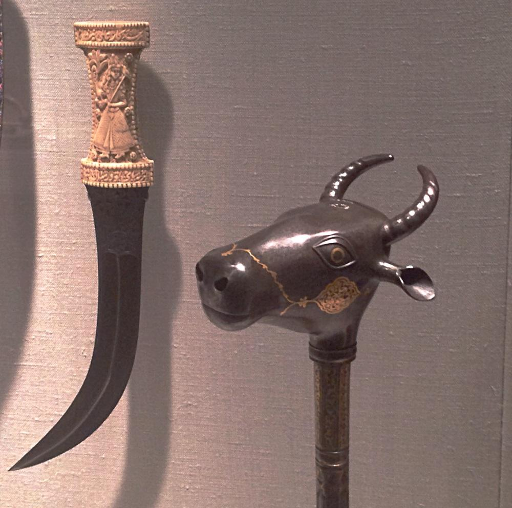 19th century Iranian mace and dagger