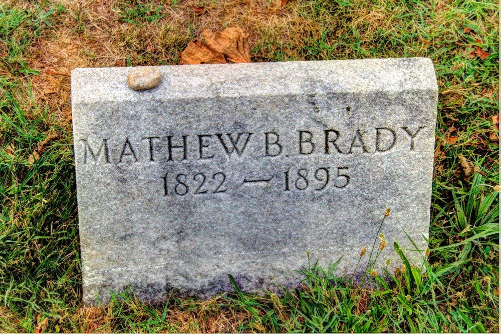 Brady's grave at the Congressional Cemetery in Washington DC.  The year of his death is incorrect.